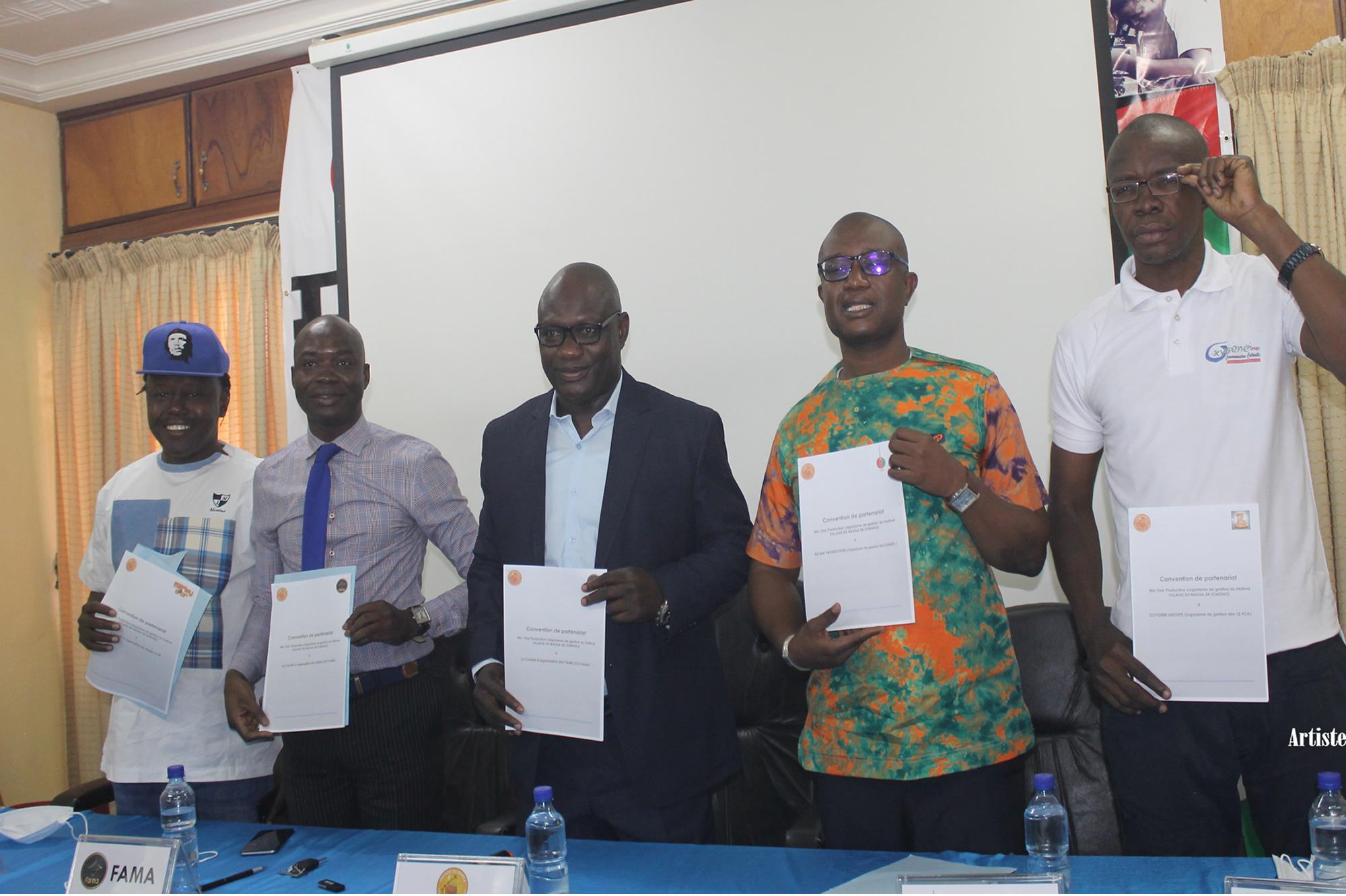 Promotion des artistes Burkinabè : Le Festival village du BASGA signe une convention de partenariat avec 4 grandes cérémonies de distinction burkinabè